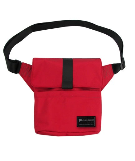 Photo produit sac pochette Clikpocket Check In rouge de mars de face